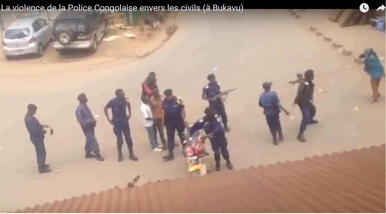 Bukavu: une vidéo «choc» d'un policier qui lance un projectile sur une vieille femme!